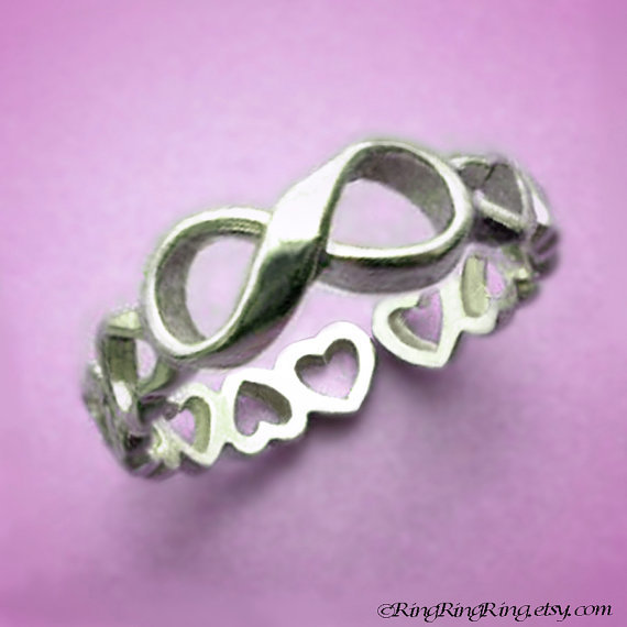 925 Infinity ring with heart band - Adjustable Sterling Silver ring jewelry, girlfriend promise 090912