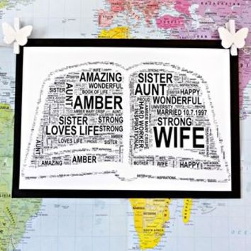 Personalised Open Book Or Stack Of Books Word Art