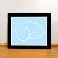 Cat Figure Digital Print - 8x10 Sky Blue Simplistic Print