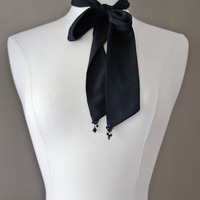 Ascot Ribbon Tie with Vintage Jewel Accents