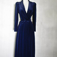 MISS ELAINE Dressing Gown Robe - Velvet Navy Blue