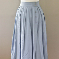 1950s Circle Skirt - Blue Pleated Rhinestone Button Down KORET of CALIFORNIA Skirt