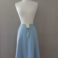 Designer Italian Skirt - 1970s Vintage Blue Wool with Original Tags