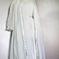 2 PIECE SET- Vintage 1950s Carillon Chiffon Lace Peignoir Robe Nightgown