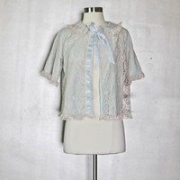 Blue Lace Illusion Bed Jacket - Beautiful Something Blue Bridal Shower Lingerie Gift