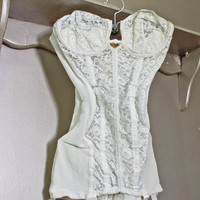 Lily of France Girdle - White Bridal Lace Bustier with Boning