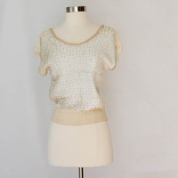 Vintage Ivory Slouchy Top - Scoop neck  Pearl and Sequin