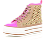 pink and beige flatform high tops