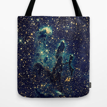 Blue & Gold Stars Space Galaxy Print Tote Bag by 2sweet4words Designs