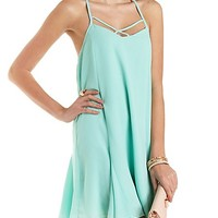Strappy T-Back Shift Dress by Charlotte Russe - Mint