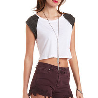Cuffed Cap Sleeve Crop Top by Charlotte Russe
