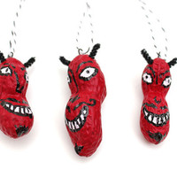 3 Halloween Red Devil Ornaments - whimsical folk art, Halloween decor, hand painted peanuts