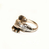 Vintage Sterling Silver Elephant Head Ring - The Salvage Room