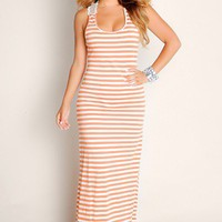 Cute Orange Sweet Summer Lovin' Flowy Cut Out Wide Strap Tunic Maxi Dress