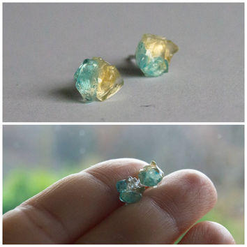 Golden Light blue topaz and gold yellow citrine stud earrings