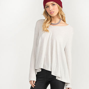 V-neck Flowy Cozy Top - Light Gray - Light Gray /