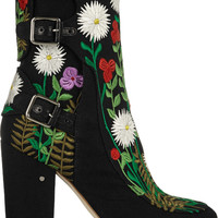 Laurence Dacade   Merli floral-embroidered canvas ankle boots   NET-A-PORTER.COM