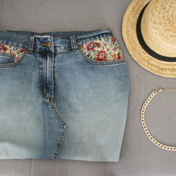 Tapestry jeans skirt Midi skirt  with floral tapestry Vintage H&M high waist skirt 80's (S/M)Blu