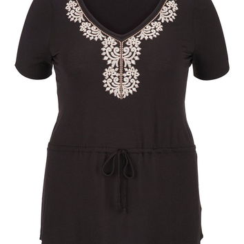 Plus Size - Embroidered Front Tie Waist Tunic Top - Black