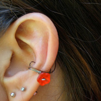 Red Flower Ear Cuff Gunmental Wire Wrapped Ear Cuff