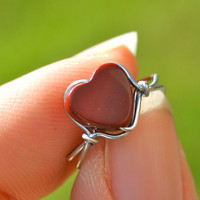 Red Heart Ear Cuff Silver Wire Wrapped Red Jasper Heart Cuff