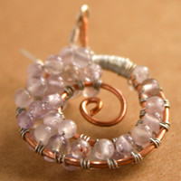 Spiral Amethyst Earrings Light Purple with Copper and Silver Wire Wrap