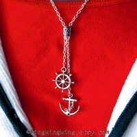 Anchor necklace - Silver necklace ships wheel pendant, Jewelry gift for Mother. US Navy ship 091612