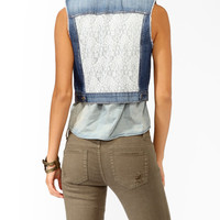 Lace Panel Denim Vest