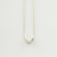 Worn Silver Circle Pendant Necklace - One