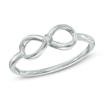 Diamond Accent Solitaire Sideways Infinity Ring in 10K White Gold