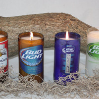 Beer Bottle Candle Upcycled from Budweiser and Bud Light Beer Bottles, Custom Made Candle