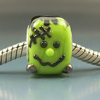 FRANKENSTEIN Handmade Lampwork Glass Halloween BHB European Charm Big Hole Bead sra Gelly