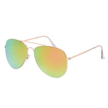 With Love From CA Pastel Pink Mirror Aviator Sunglasses - Womens Sunglasses - Rose Gold - One