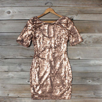 Rose Gold Party Dress, Sweet Women's Bohemian Clothing