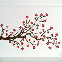 Branchberry Note Card - Persimmon, Branch with Berries, Pink, Red, Orange