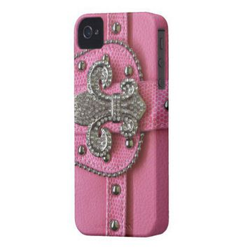 Girly Pink Leather Fleur de Lys photo print Case-mate Iphone 4 Case from Zazzle.com