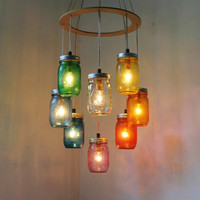 RAINBOW Heart Shaped Mason Jar Chandelier Light - Rustic Hanging Pendant Lighting Fixture - Direct Hardwire - BootsNGus Lamp Design