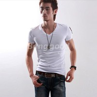 New Casual Fashionable Short Sleeve Pure Color V-Neck Men's T-Shirt Free Shipping!  - US$11.60