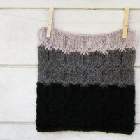 Chunky Ombre Cowl - black, dark and light grey - stripe luxury alpaca -  Cozy and hearth warming accessory  - fall fashion - unisex