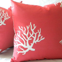 Decorative throw Pillow Cover Coral and White indoor outdoor beach 18 x 18