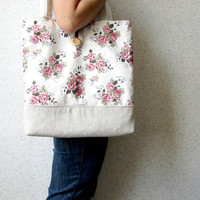 Roses Patterned Tote Bag - beach bag - shopper - large - shabby chic