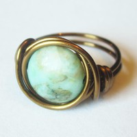 Green Matrix Jasper Disc, Boho Ring.. on Luulla