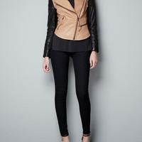 LEATHER BIKER JACKET WITH ZIPS - Blazers - Woman - ZARA United States