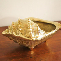 Large vintage brass conch shell bowl by highstreetmarket on Etsy