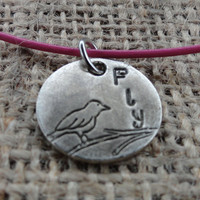 "Silver Bird on a Branch Pendant on Hot Pink Leather Cord - Hand Stamped ""Fly"""
