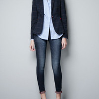 CHECKED WOOL BLAZER WITH ELBOW PATCHES - Blazers - Woman - ZARA United States