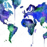 Watercolor World Map Illustration Earth in by JessicaIllustration