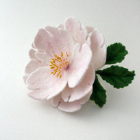 Felted brooch pale pink flower - ready to ship