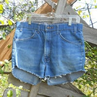 High Waisted Shorts Levi's Cutoffs Destroyed Distressed Ripped Frayed Faded Blue Jean Denim Vintage 70s Highwaisted Cut Off Size 34 / 16