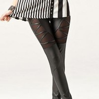 Cut Out Mesh/PU Black Skinny Leggings